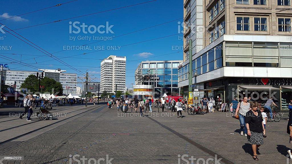 people at Berlin Alexanderplatz stock photo