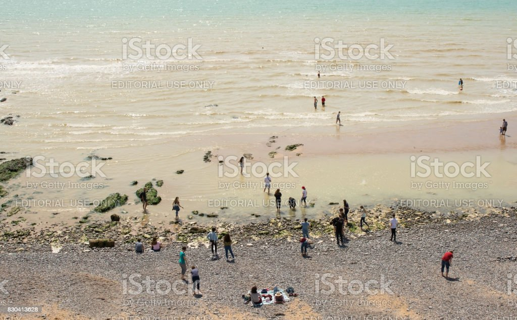 People at Birling Gap near Eastbourne, England stock photo