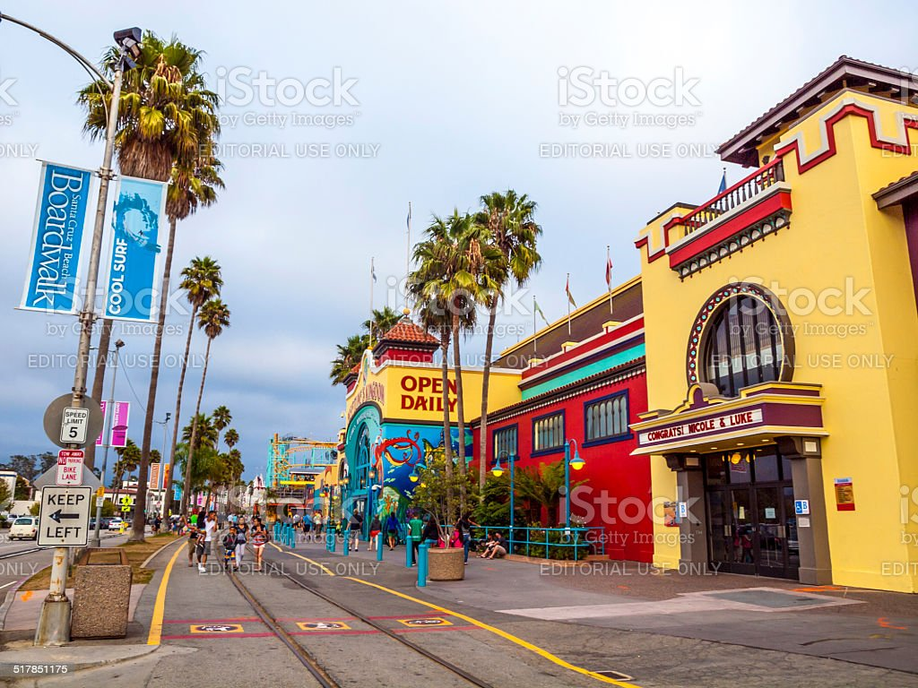 people at Boardwalk in Santa Cruz stock photo