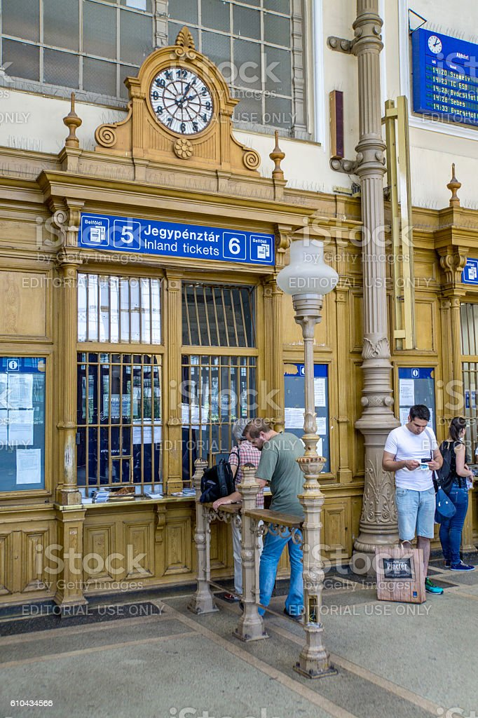 People at Budapest railway station ticket hall stock photo