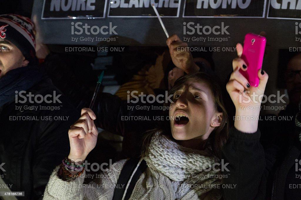 People at Charlie Hebdo Rally royalty-free stock photo