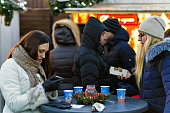 People at Christmas market on Cathedral Square Vilnius