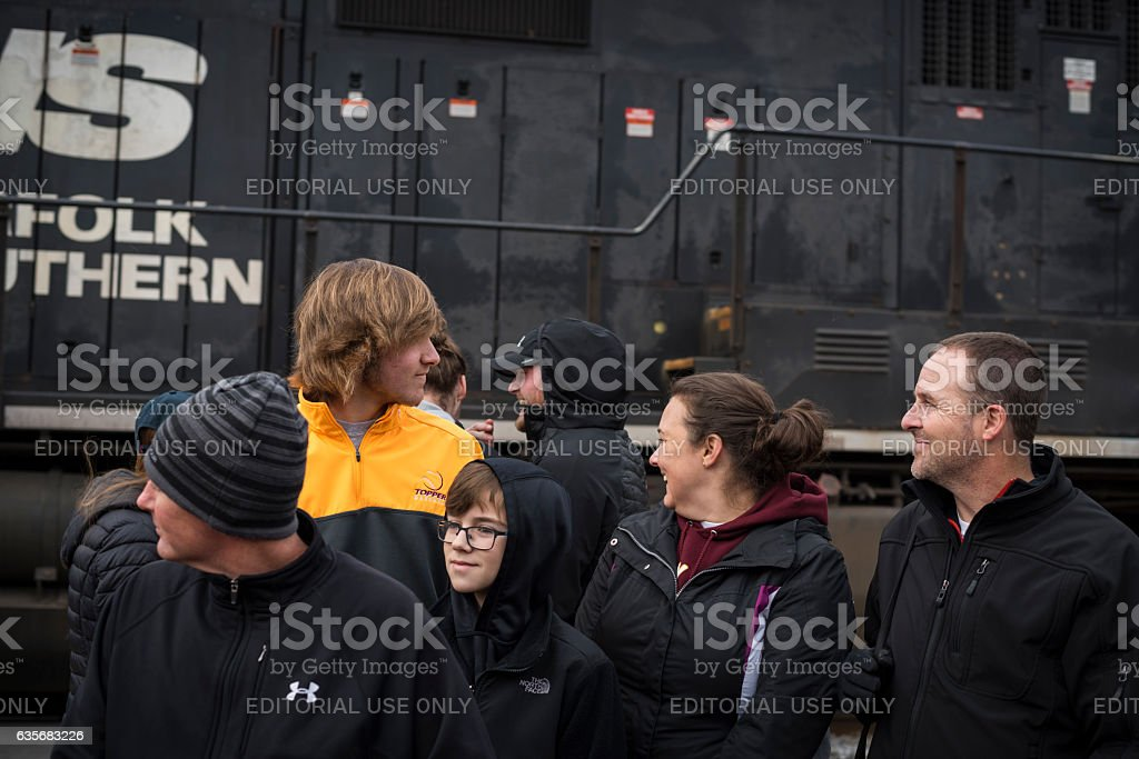 People at Christmas parade in Johnson City, Tennessee stock photo
