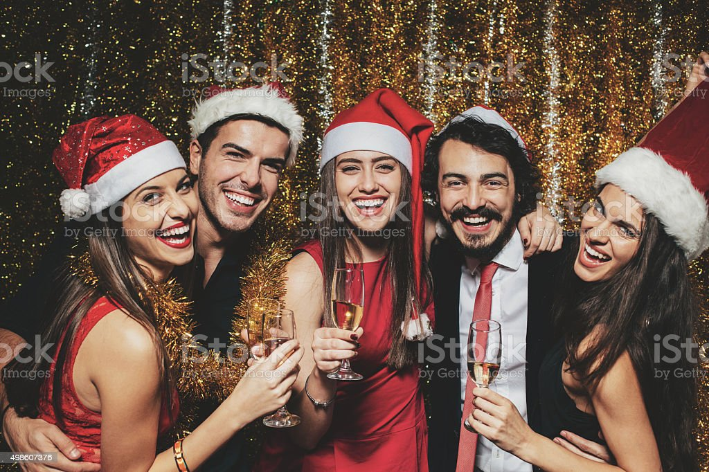 People at Christmas party stock photo