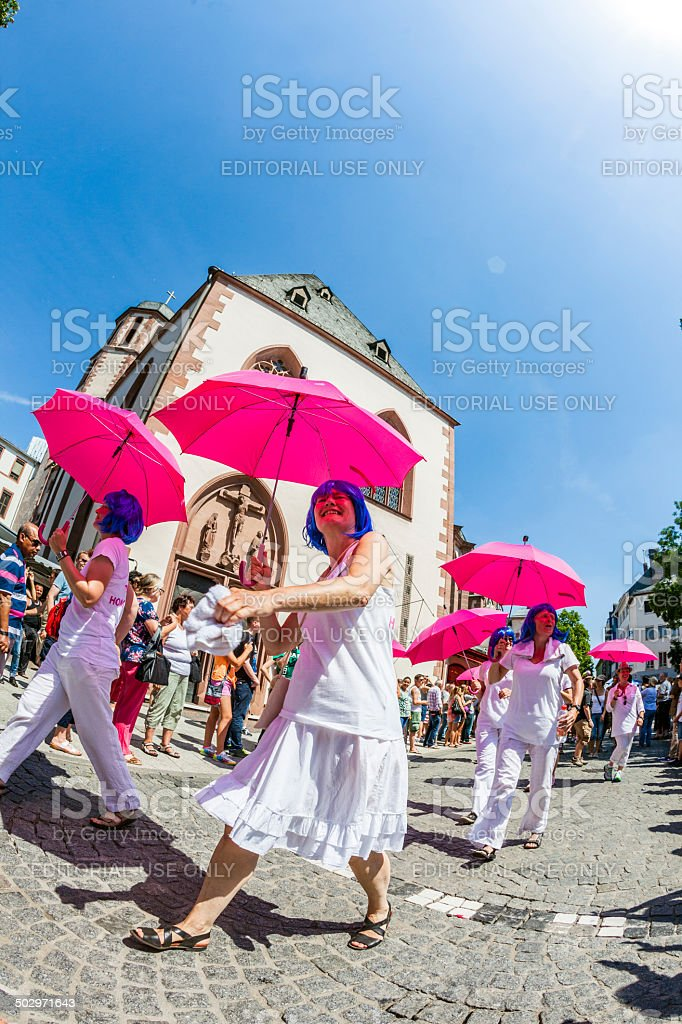 people at christopher street day in Frankfurt stock photo