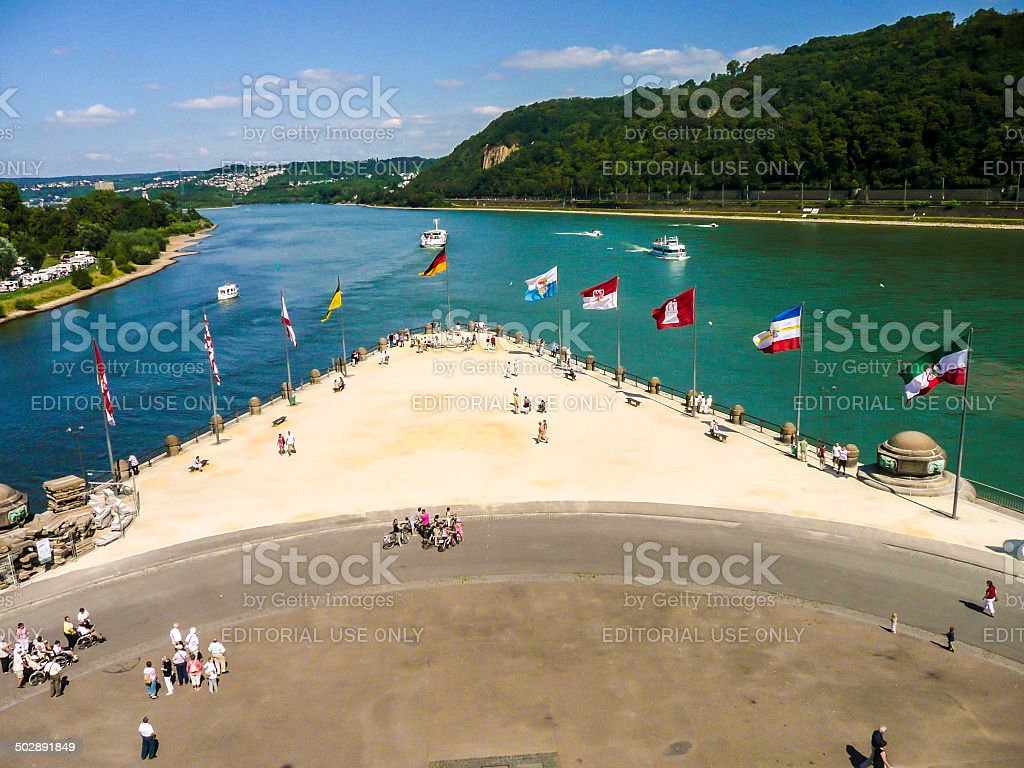 people at Confluence of Rhine and Mosel rivers stock photo