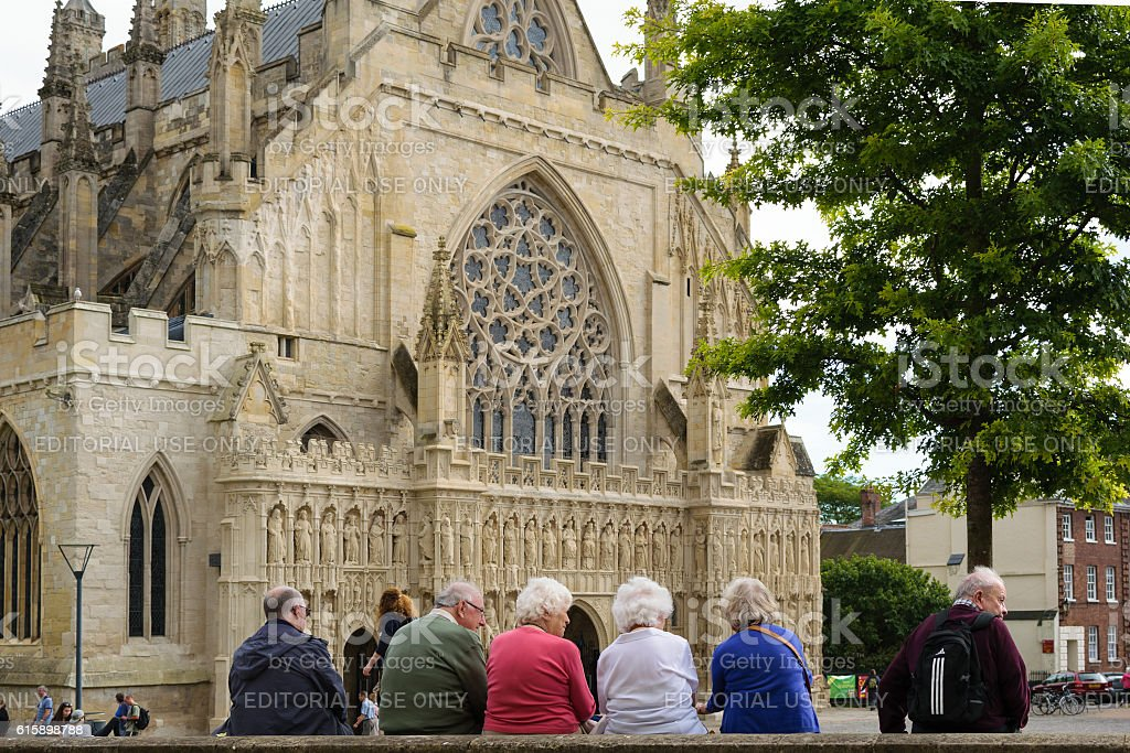 People at Exeter Cathedral stock photo