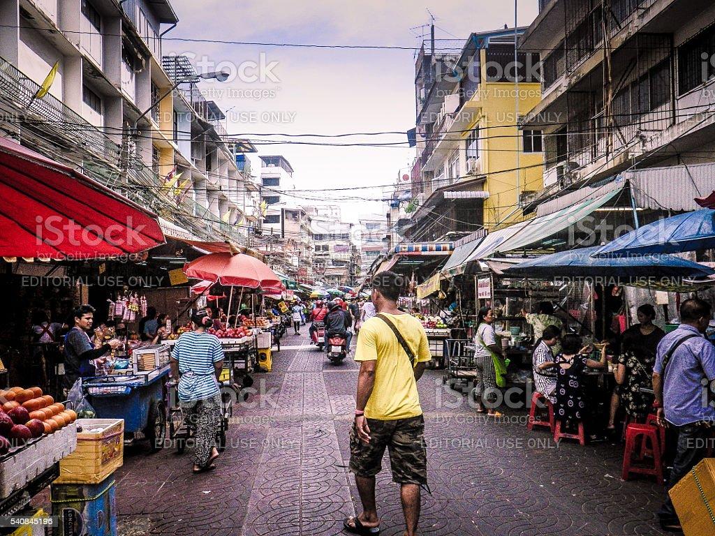 People at Food Street Market Chinatown stock photo