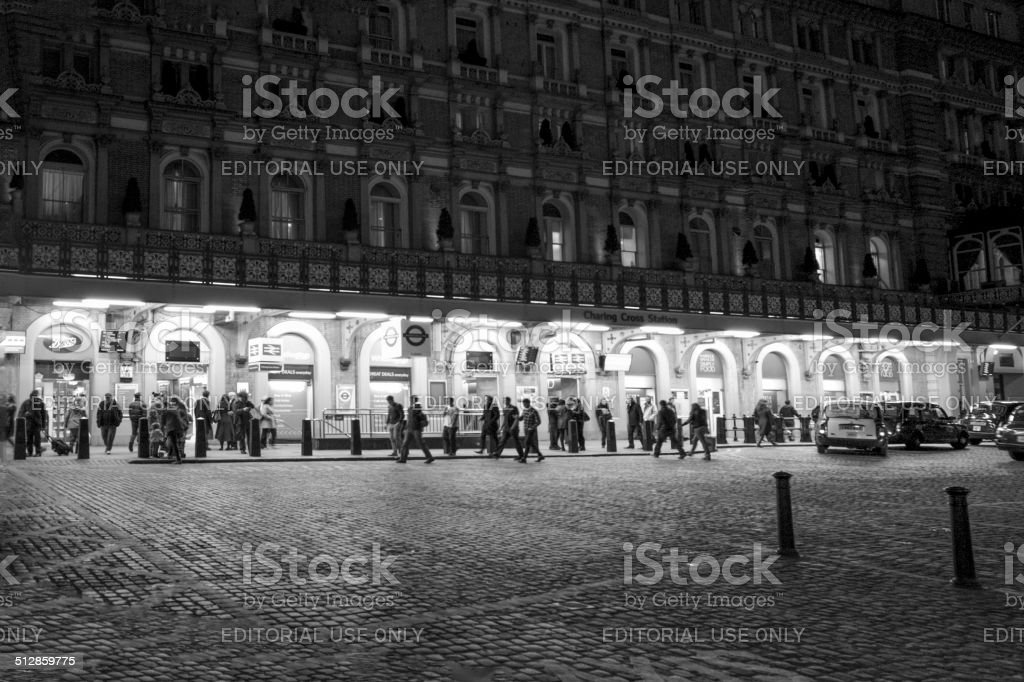 people at front of charing train station london england stock photo