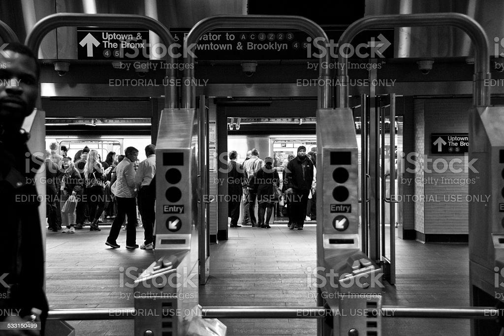 People at Fulton Street subway station, Lower Manhattan, NYC stock photo