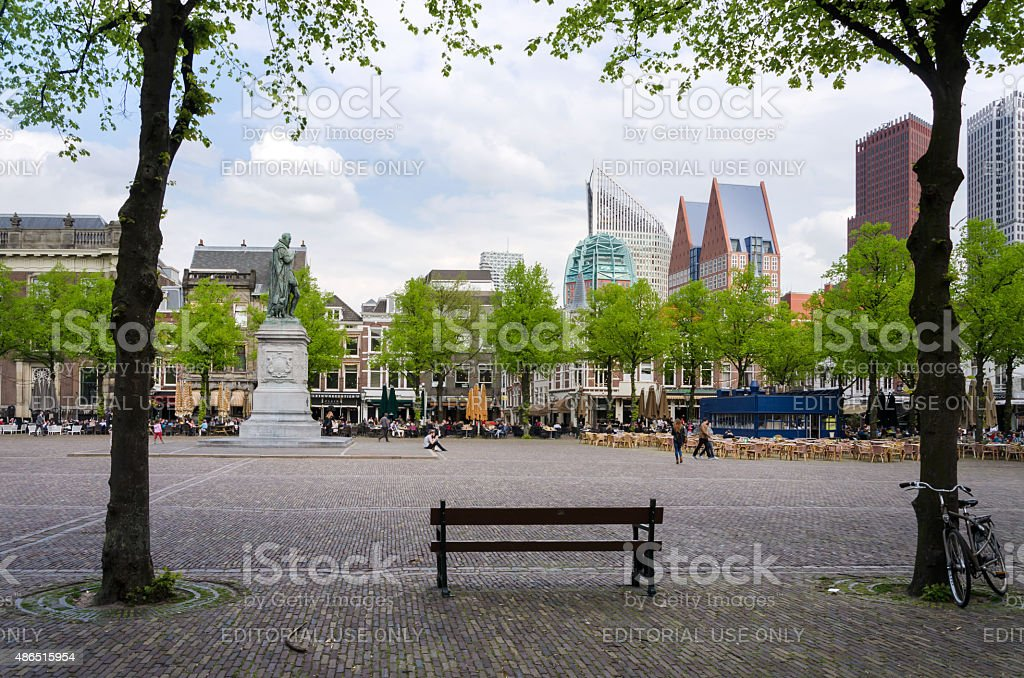People at Het Plein in center of The Hague stock photo