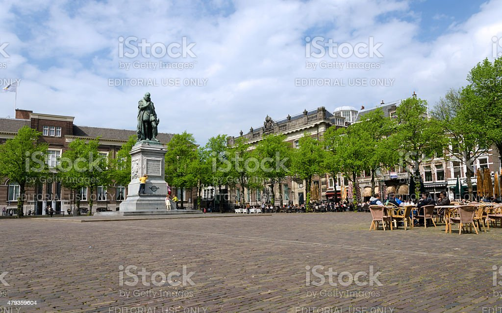 People at Het Plein in The Hague's city centre, stock photo