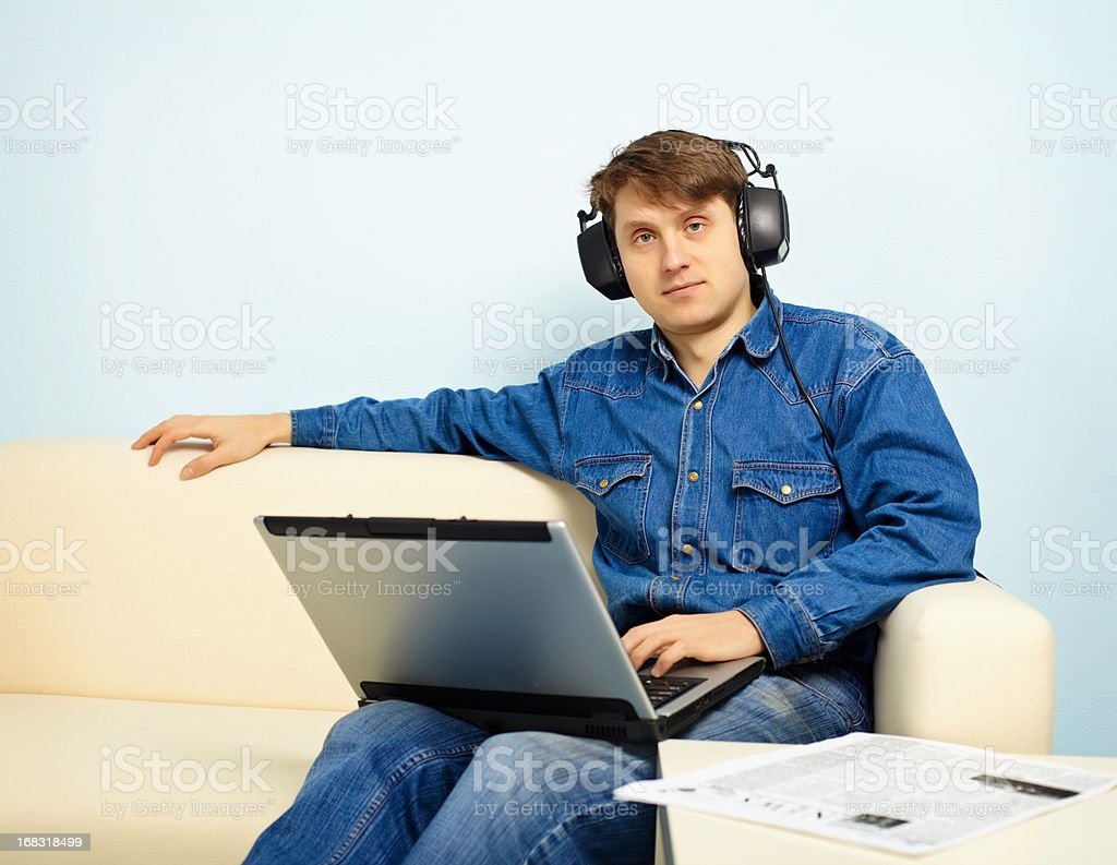 People at home listening to symphonic music stock photo