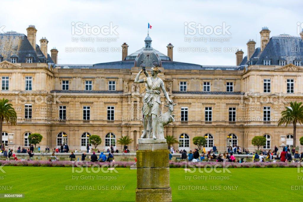 People at Jardin du Luxembourg garden in Paris stock photo