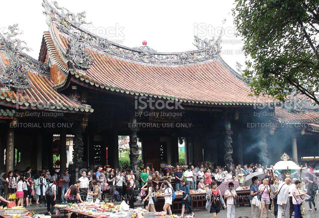 People At Longshan Temple of Manka In Taipei Taiwan.Asia stock photo