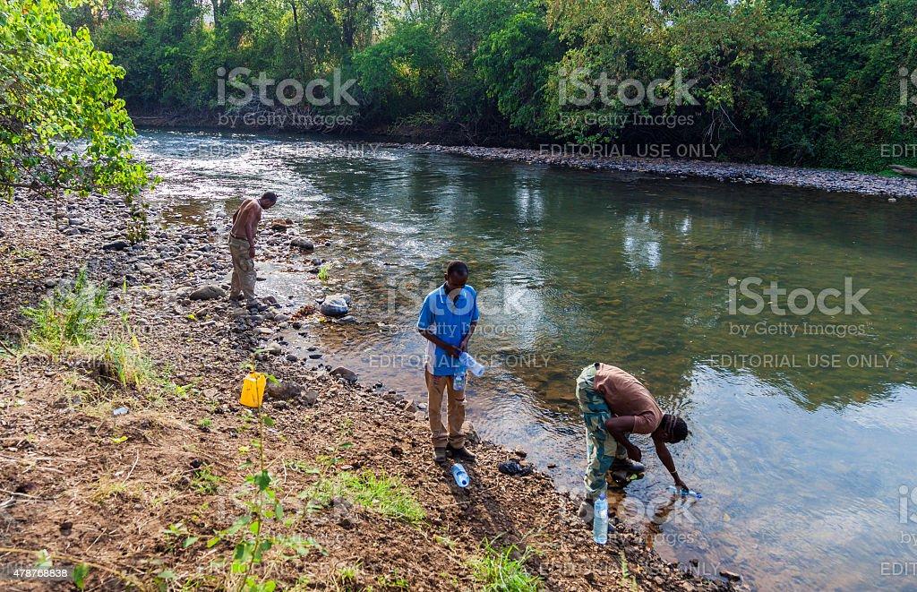 People at Mago River. Omo Valley. Ethiopia stock photo
