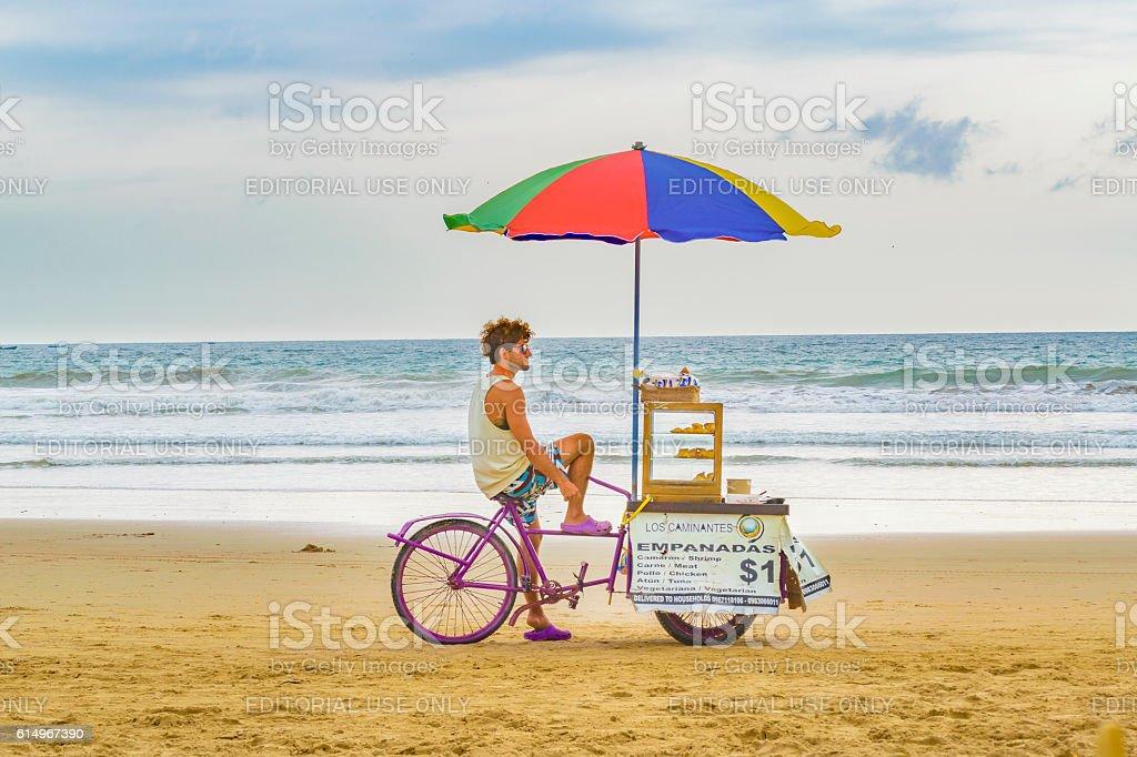 People at Montanita Beach Ecuador stock photo