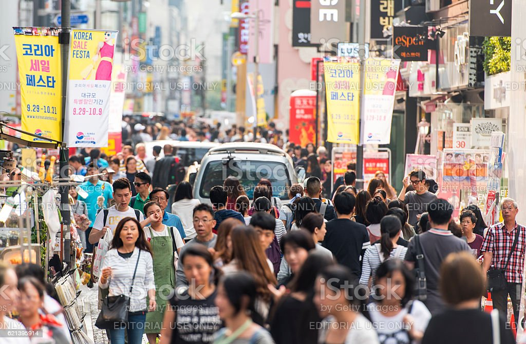 People at Myeongdong street in Seoul stock photo