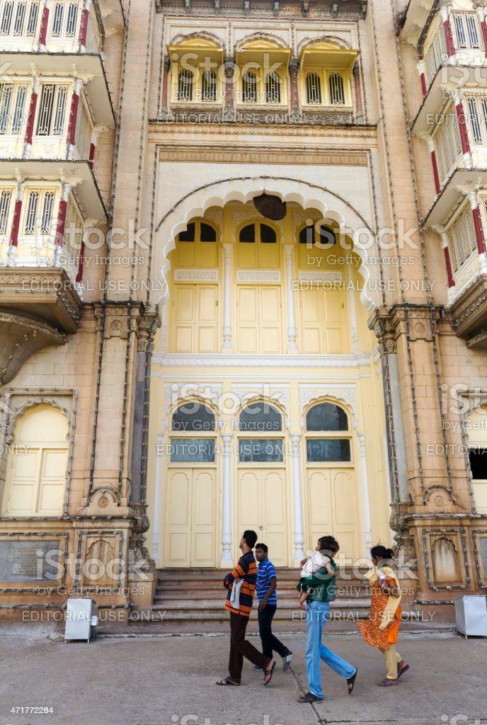 People at Mysore Palace, India stock photo