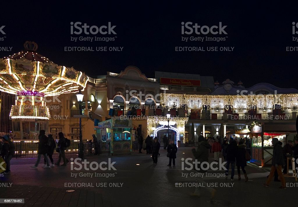 People at night at Prater stock photo