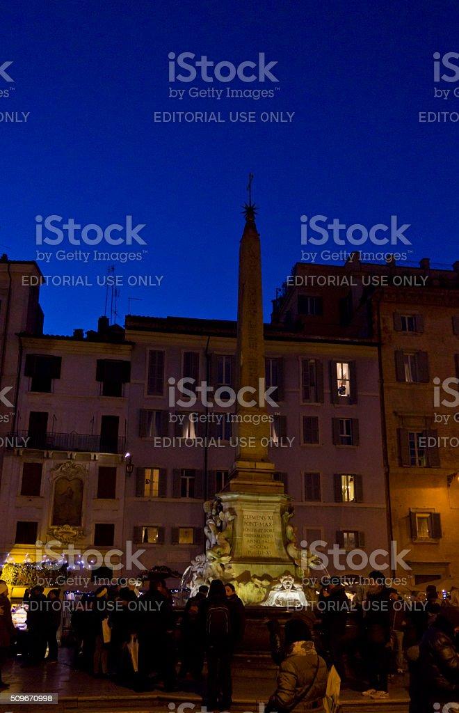 People at night in PIazza della Rotonda in Rome stock photo