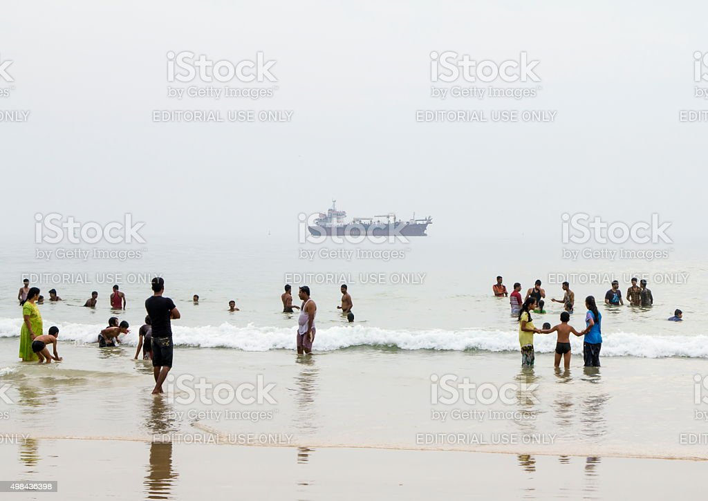 People at Panambur beach, Mangalore, India stock photo
