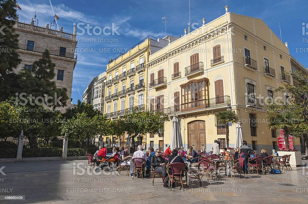 People at pavement cafe Valencia Spain stock photo