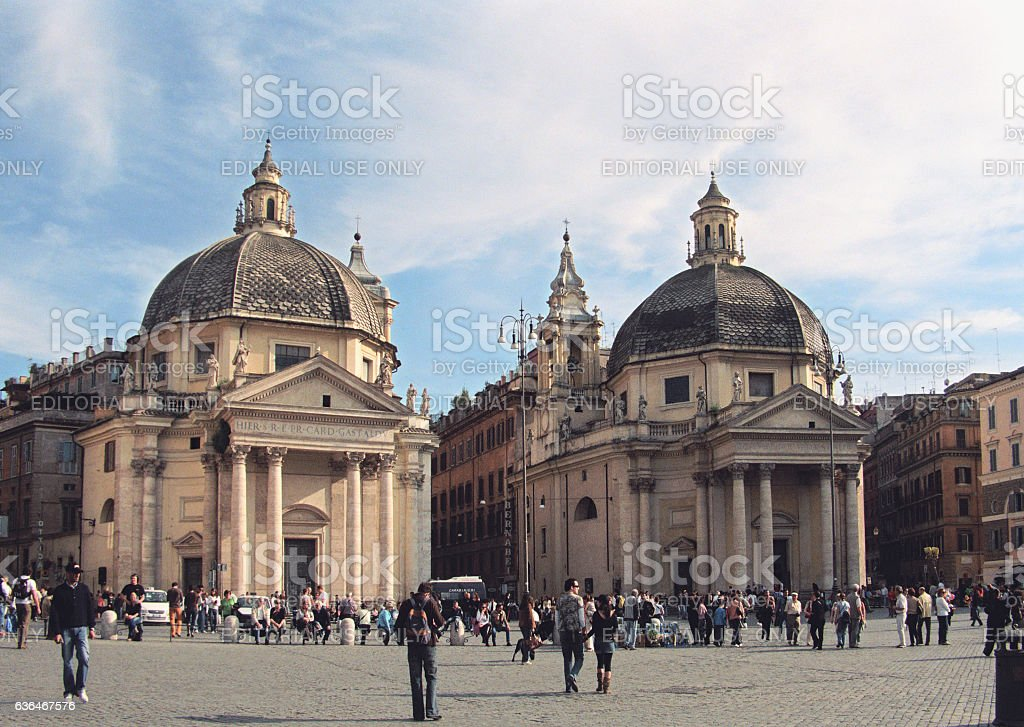 People at Piazza del Popolo in Rome, Italy. stock photo