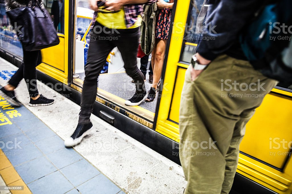 People at rush hour in Sydney trains system, Australia