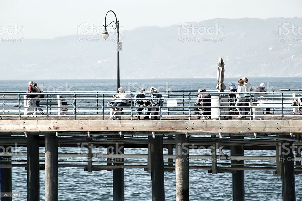 People at Santa Monica Pier royalty-free stock photo