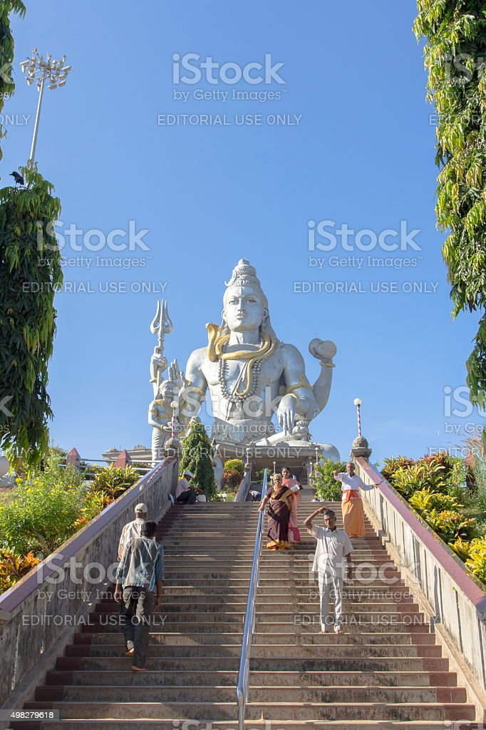 People at Shiva statue, Murudeshwar, Karnataka, India stock photo