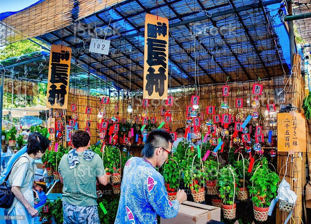 People at souvenir shop near Sensoji Temple in Asakusa, Japan stock photo