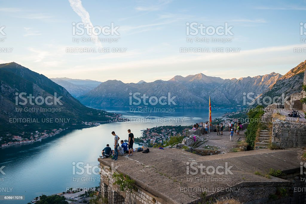 People at St. John's Castle above Kotor, Montenegro stock photo