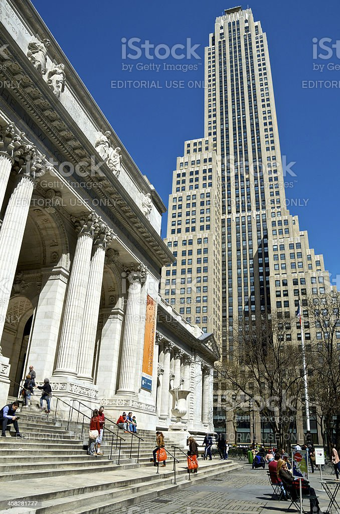 People at steps of New York City Public Library, Manhattan royalty-free stock photo
