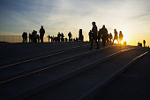 People at Sunset in Lisbon