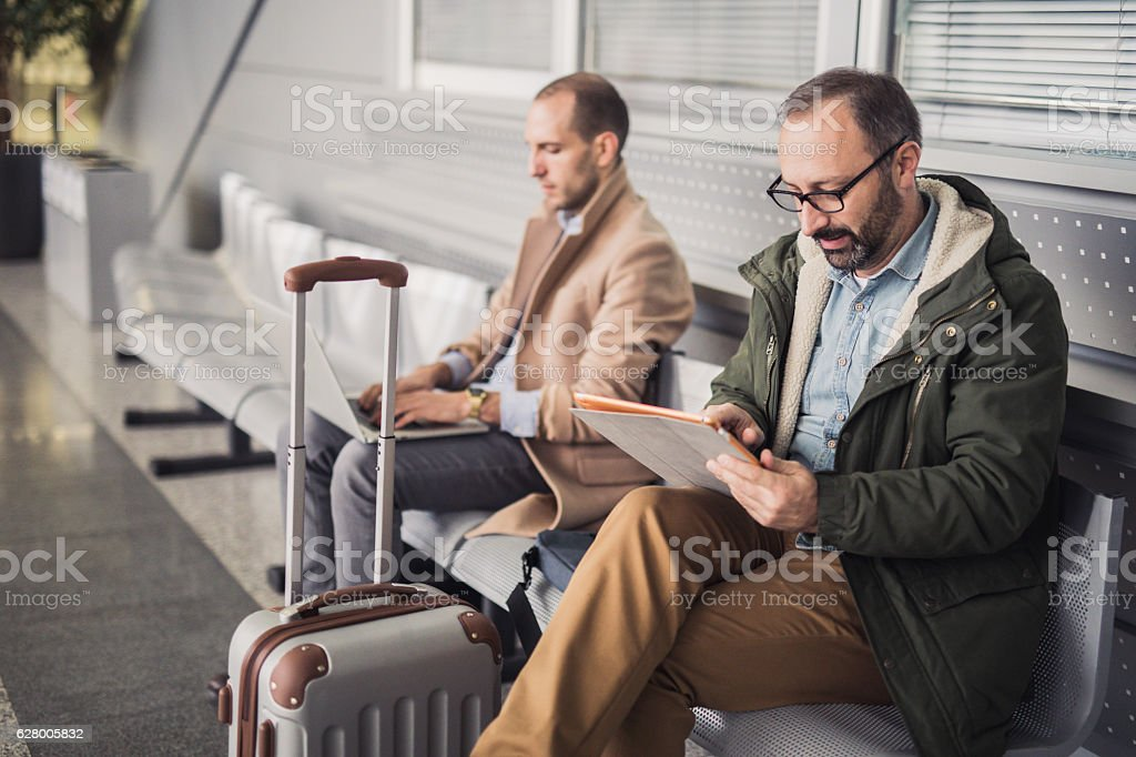 People at the airport lounge stock photo