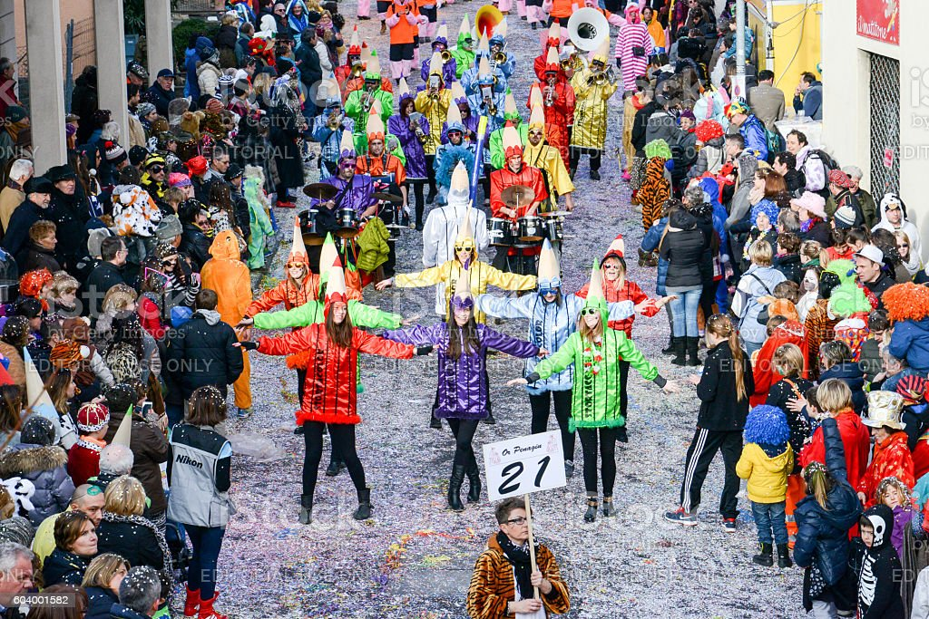 People at the carnival of Tesserete on Switzerland stock photo