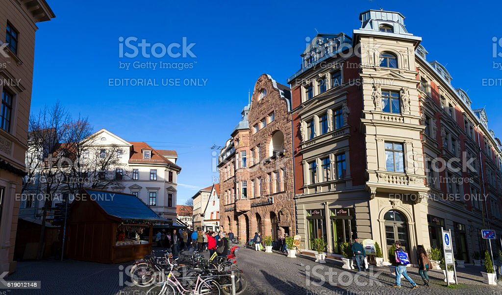people at  the central streets of the city of Weimar stock photo