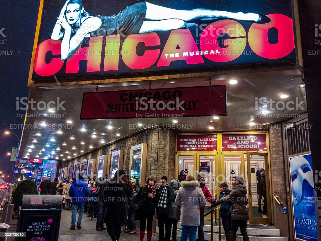 People at the entrance to Broadway Theater for Chicago musical stock photo
