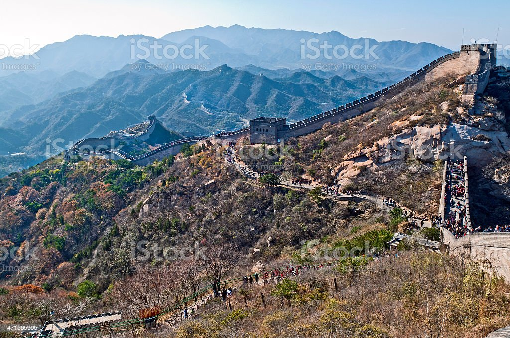 People at The Great Wall of China in Badaling royalty-free stock photo