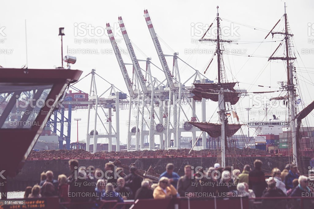 People at the harbor of Hamburg and Elbe river stock photo
