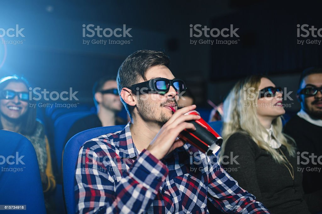 People at the movies stock photo