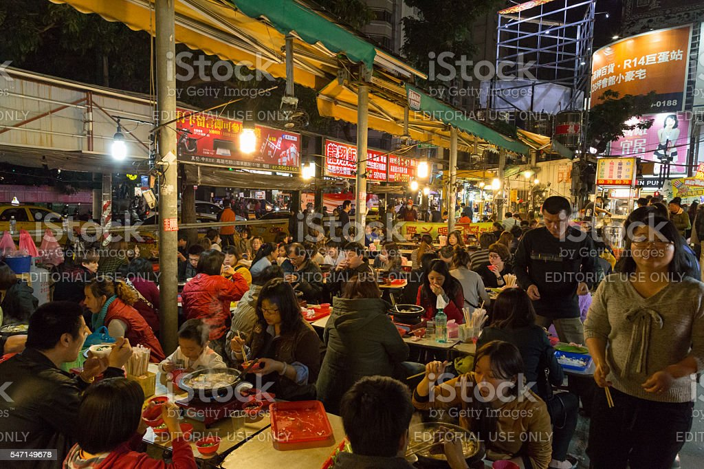 People at the night market in Kaohsiung, Taiwan stock photo