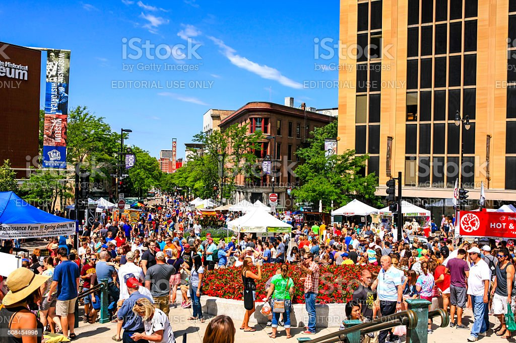 People at the Saturday Farmers Market in Madison Wisconsin stock photo