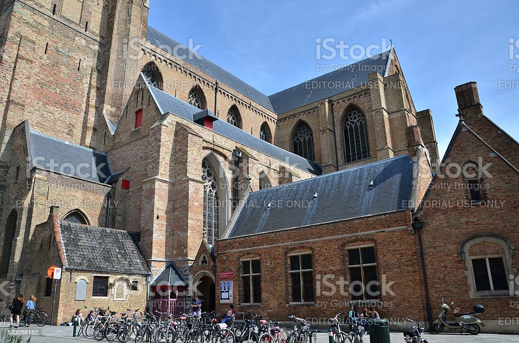 People at The St. Salvator's Cathedral in Bruges, Belgium. stock photo