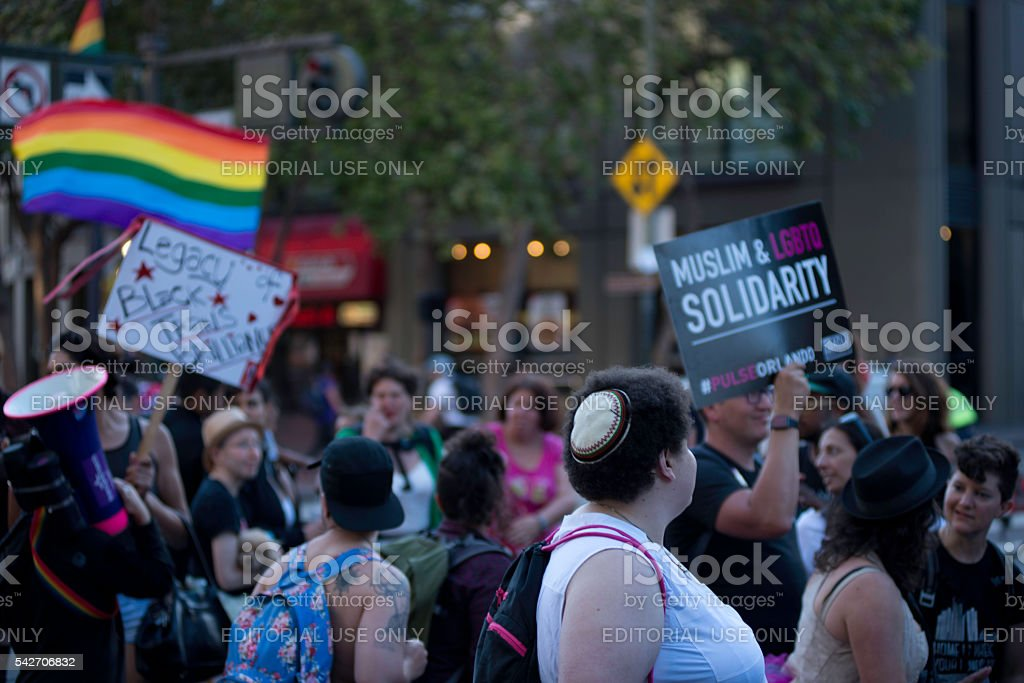 People at the Transmarch in San Francisco stock photo