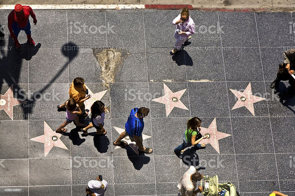 people at the walk of fame in Hollywood stock photo