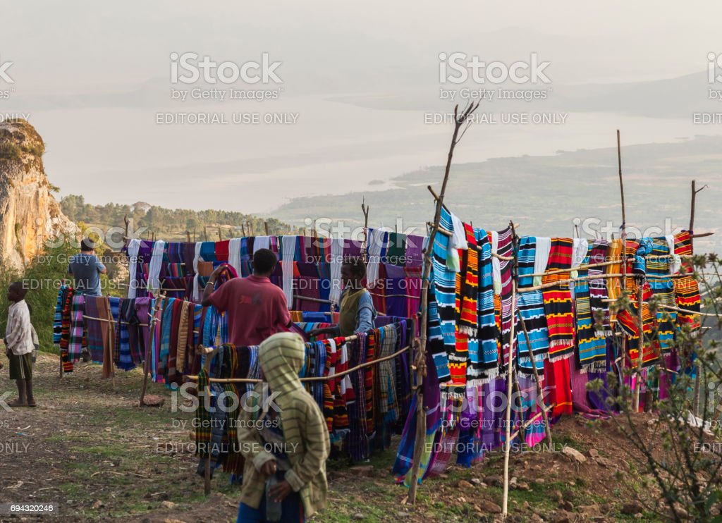 People at traditional Dorze market. Hayzo Village. Dorze. Ethiopia. stock photo