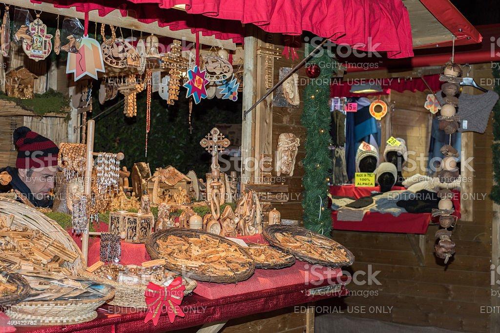 People at traditional xmas market stock photo