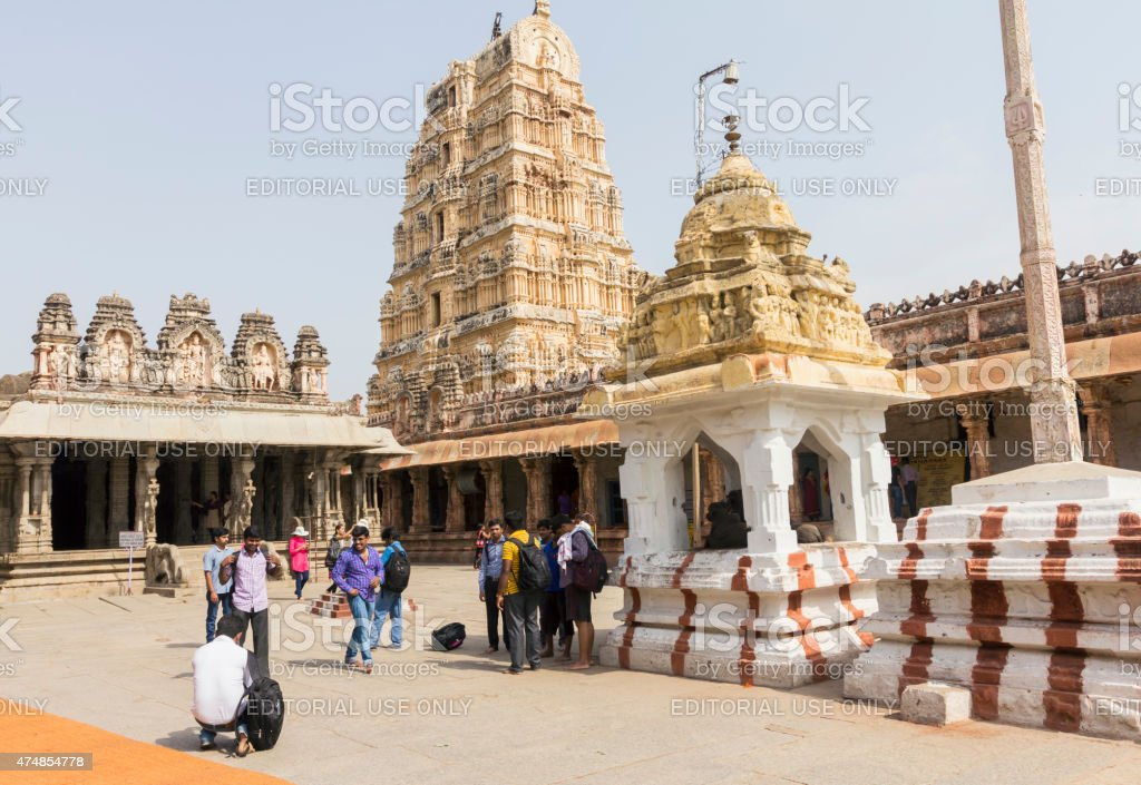 People at Virupaksha Temple complex, Hampi, India stock photo